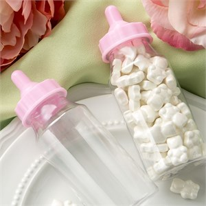 Perfectly Plain Collection Clear Baby Bottle with Pink Screw On Top