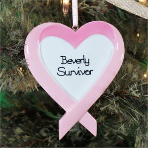 Personalized Breast Cancer Heart Ornament