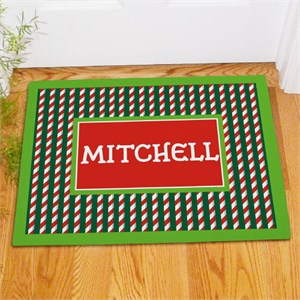 Personalized Candy Cane Stripes Christmas Doormat
