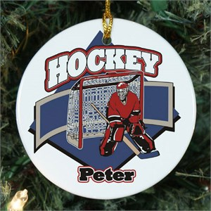 Personalized Ceramic Hockey Player Ornament