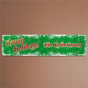 Personalized Happy Holidays Family Wall Sign
