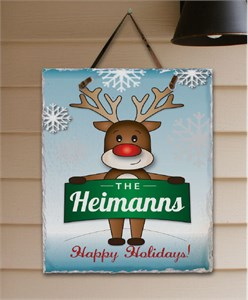 Personalized Reindeer Welcome Slate Plaque