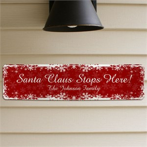Personalized Santa Claus Stops Here Metal Sign
