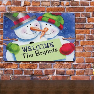 Personalized Snow Couple Metal Wall Sign