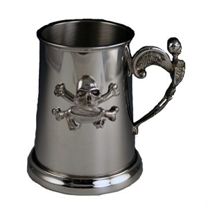Pewter Skull And Skeleton Tankards