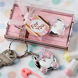 Pink Baby Carriage Design Key Chains