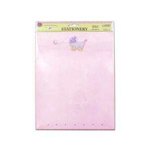 Pink Baby Stationery With Baby Carriage