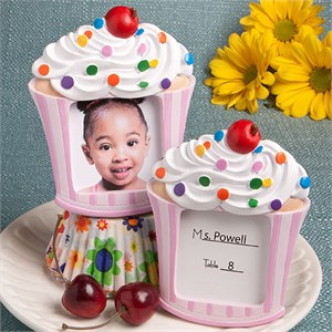 Pink Cupcake Design Placecard Holder Picture Frame