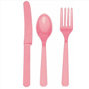 Pink Fork Knife And Spoon Set - Plastic