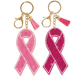 Pink Ribbon Bling Keychain