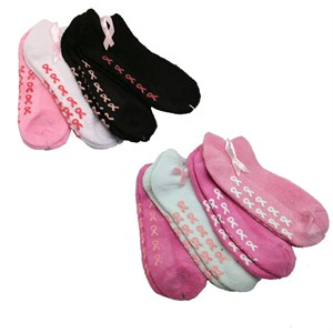 Pink Ribbon Plush Ankle Socks