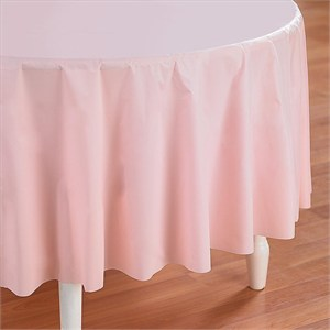 Pink Plastic Table Cover - Round