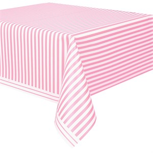 Pink Striped Plastic Table Cover - Rectangle