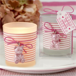 Pink Teddy Bear Themed Frosted Glass Votive