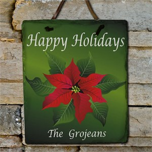 Poinsettia Holiday Personalized Slate Plaque