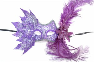Purple Decorated Half Mask With Leaves And Feathers