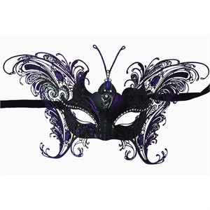 Purple Deluxe Venetian Butterfly Metal Mask
