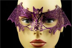 Purple Metal Venetian Bat Mask