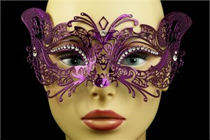 Purple Metal Venetian Cat Mask