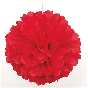 """Red 16"""" Puff Ball Decoration"""