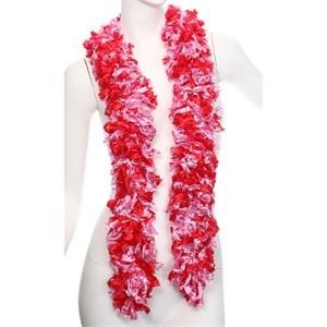 Faux Soft Pink And Red Featherless Boa (6', 185 grams)