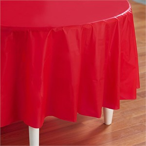 Red Plastic Table Cover - Round