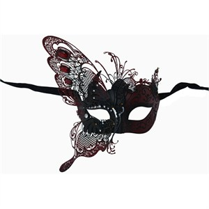 Red Venetian Butterfly Metal Mask