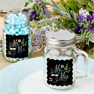 Sayings Collection Mr and Mrs Design Glass Mason Jar