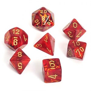 Scarab Scarlet With Gold Polyhedral 7 Die Set