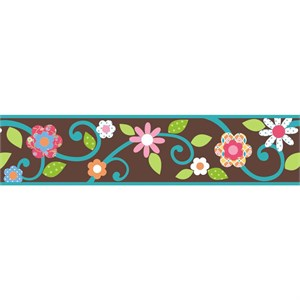 Scroll Floral Peel And Stick Border-Brown-Teal