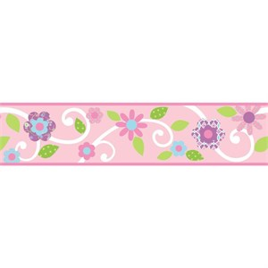 Scroll Floral Peel And Stick Border-Pink-White