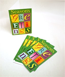 Seasons Greetings Block Letters Greeting Cards