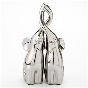Set of 2 Silver Intertwined Electroplated Elephants 10 Inch Tall