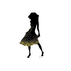 Silhouette Dancer Yellow Sparkles Cardboard Cutout