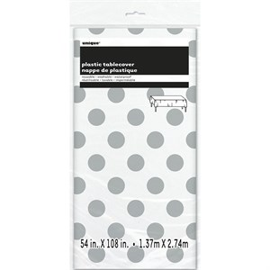 Silver Decorative Dots Plastic Table Cover - Rectangle