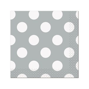 Silver Decorative Dots Beverage Napkins