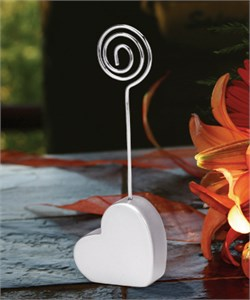 Silver Heart Shaped Place Card Holders