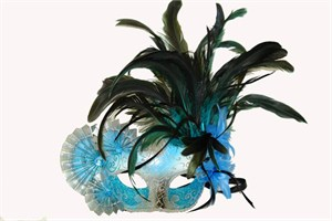 Sky Blue And Silver Half Mask With Fans And Feathers