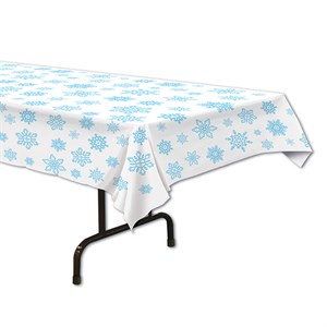 Snowflake Plastic Table Cover - Rectangle