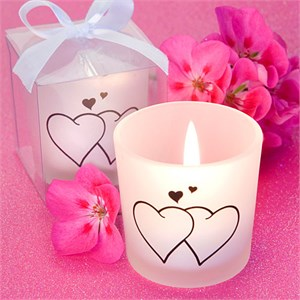Snuggling Heart Themed Candles