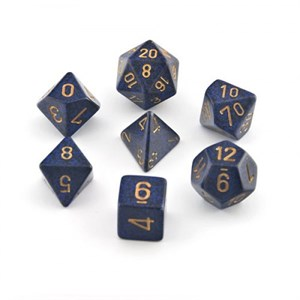 Speckled Golden Cobalt Polyhedral 7 Dice Set