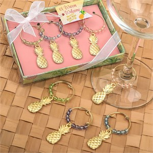 Set of 4 Tropical Gold Pineapple Wine Charms Decorated with Different Colored Beads