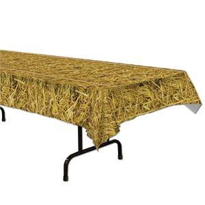 Straw Plastic Table Cover - Rectangle