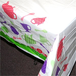 Tea Party Plastic Table Cover - Rectangle