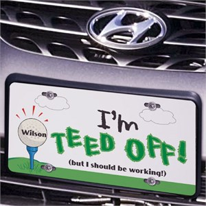 Teed Off Golfing License Plate
