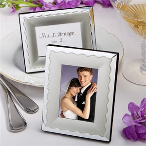 Two-Tone Silver Metal Place Card Photo Frames