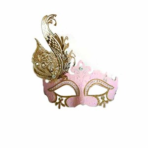 Venetian Pink Mask With Metal Feathers