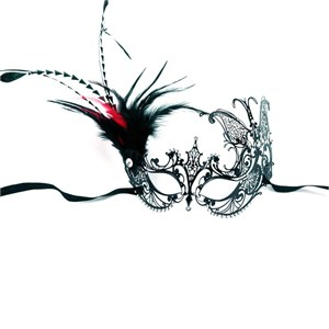 Venetian Side Butterfly Mask-Red/Black Feathers
