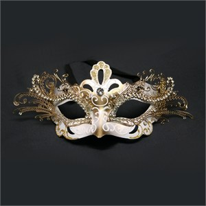 White And Gold Decorative Metal Venetian Mask