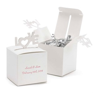 White Pop-Up Love Favor Boxes